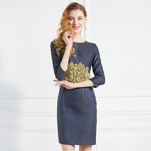 欧洲站2019春季新款气质女装拼接刺绣圆领时尚条纹修身包臀连衣裙