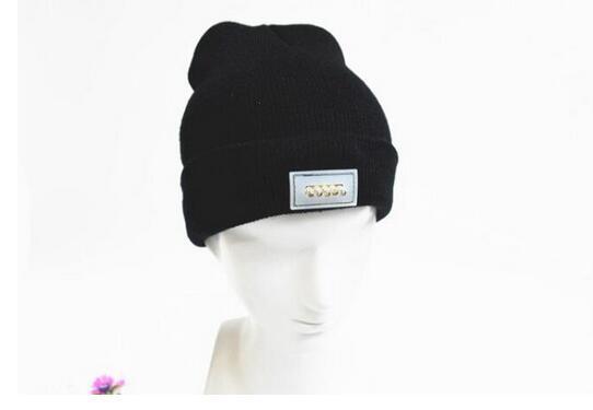 ebay/wish新款多色现货5LED灯针织线帽 发光毛线帽 可定制logo