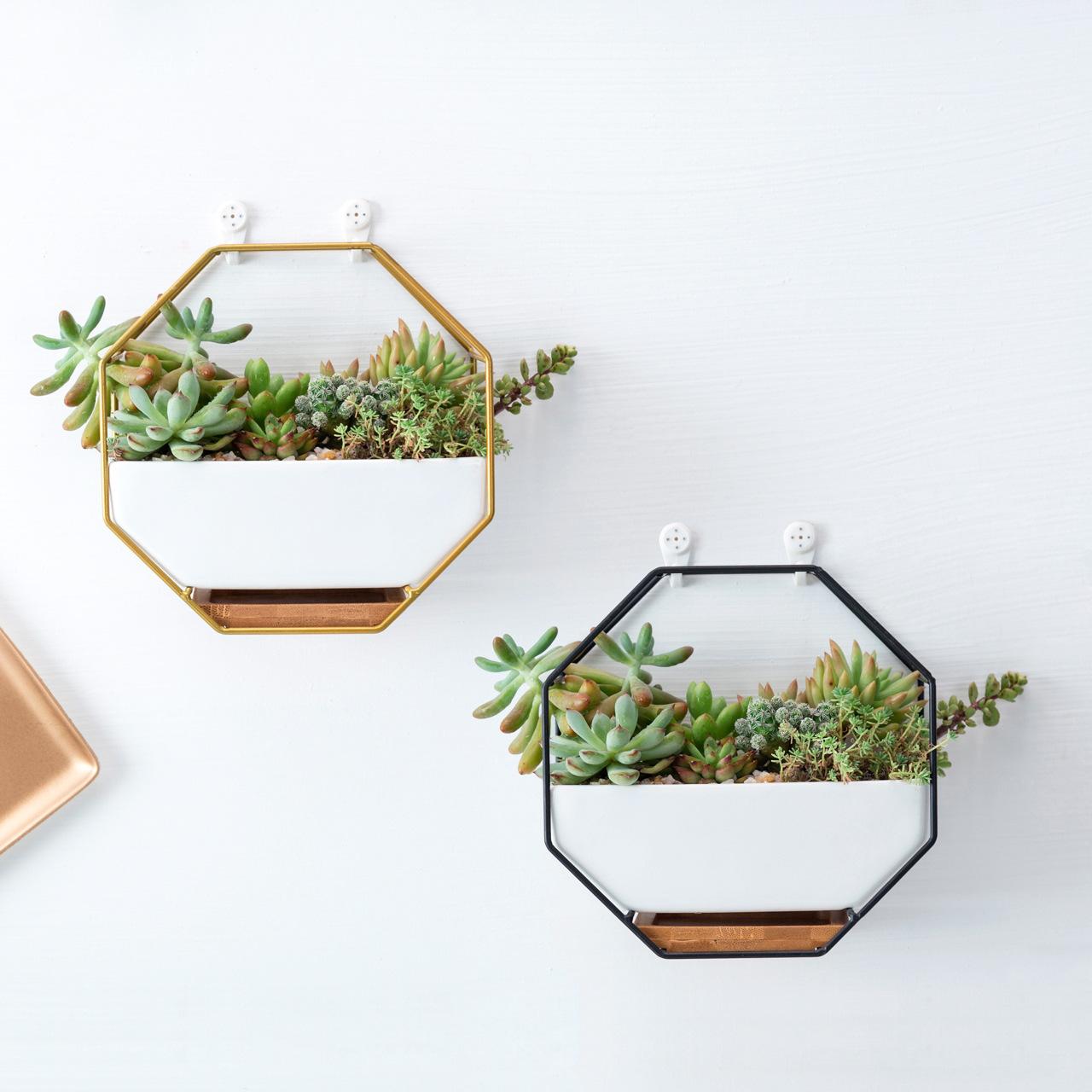 花下居创意北欧简约八边形ins铁艺陶瓷竹托花盆 壁挂多肉花盆套装