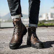 跨境高品质马丁靴男高帮英伦真皮男鞋复古工装靴沙漠靴潮流大码靴