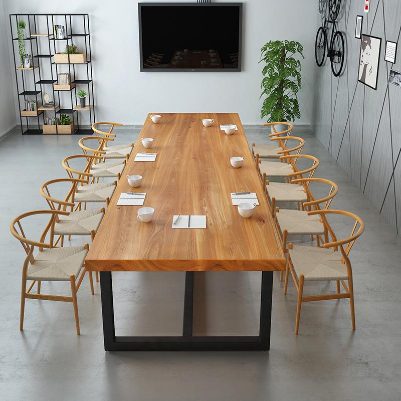 北欧实木长条办公桌 办公会议大板洽谈桌 家用电脑铁艺办公桌定制
