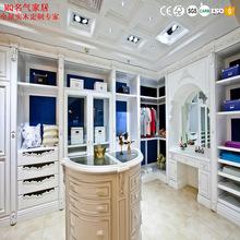 现代欧式实木整体衣柜定制 美国红橡木平开掩门衣柜衣帽间定做