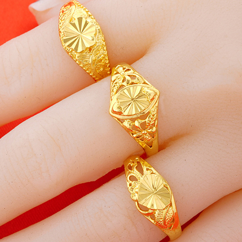 開口車花黃銅鍍黃金女戒 鍍24K金戒指 女 越南沙金女士仿金戒指