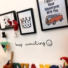 可爱励志英文字母笑脸ins墙贴纸咖啡餐厅服装店北欧简约玻璃贴