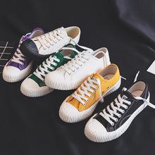 2019春季新款學生帆布鞋女韓版ulzzang情侶板鞋系帶百搭餅干鞋