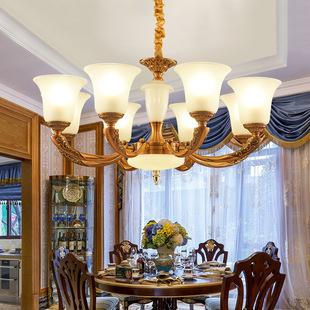 欧式吊灯客厅餐厅卧室书房走廊玻璃锌合金吊灯的图片和价格铜色灯图片