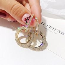 S925银针韩版新款时尚带钻耳环女镶钻几何圆圈耳钉欧美简?#32423;?#39280;女