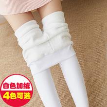 白色连裤袜成人少女日系跳舞蹈打底裤女外穿秋冬季加绒加厚一体裤