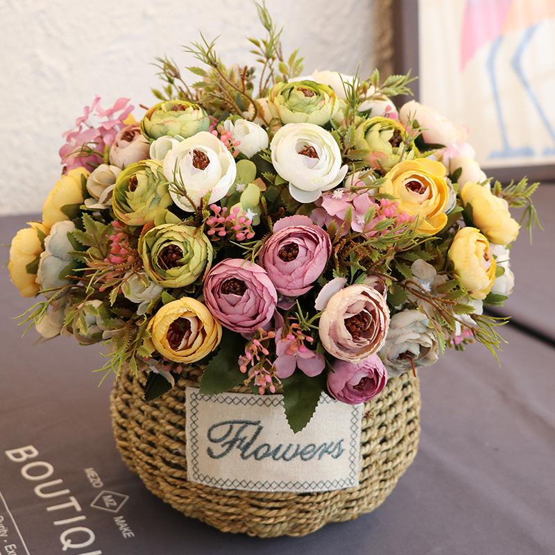 山茶花仿真花束茶玫瑰绢花艺家居装饰摄影道具婚庆布景茶苞塑料花