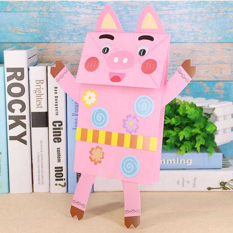 纸袋手偶 幼儿园创意diy亲子玩具 儿童手工制作材料包动物粘贴画