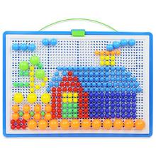 廠家直銷296粒蘑菇釘玩具兒童diy手工插珠拼圖蘑菇丁大號盒裝