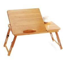 宿舍楠竹笔记本电脑桌?#30340;?#25042;人可折叠升降桌便携学习小书桌床上用