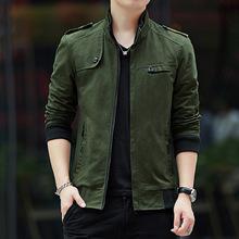 拉链春季时尚立领棉男士韩版修身水洗外套青年军装男装男式夹克