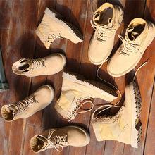 男户外情侣真皮沙漠马丁靴女英伦风磨砂皮军靴战狼2同款鞋批代发