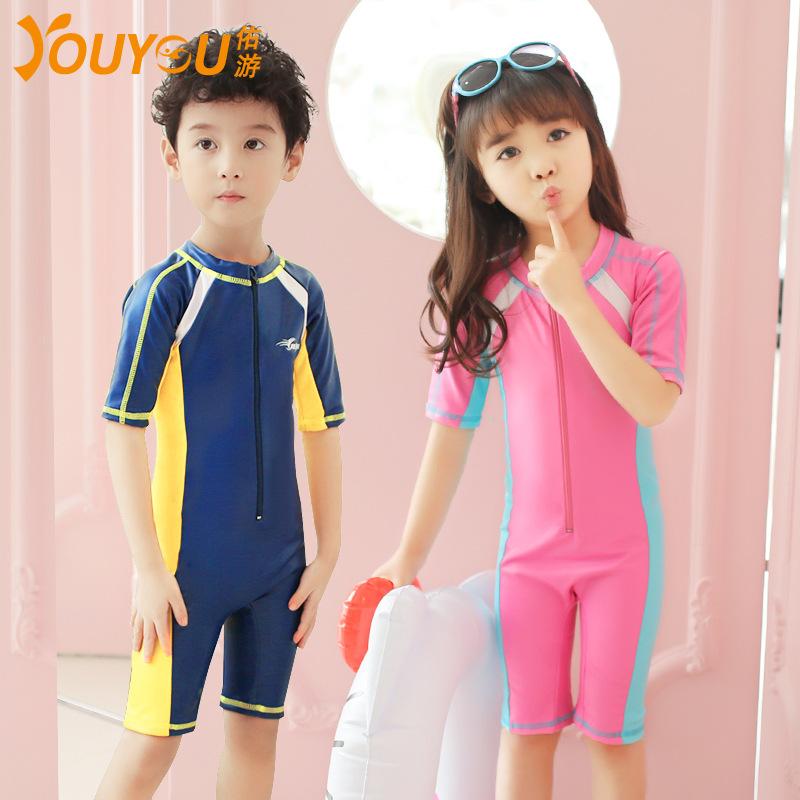 佑游新款儿童泳衣连体短袖游泳衣男女孩泳装潜水服防晒衣