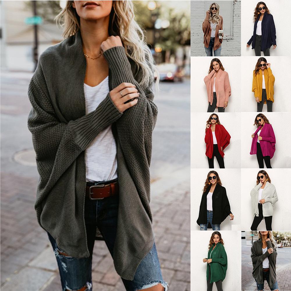 欧美外贸毛衣2019速卖通亚马逊爆款针织衫开衫大码女装毛衣外套女