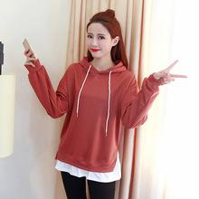 卫衣女加绒宽松外套学生连帽套头长袖假两件2018春秋季韩版