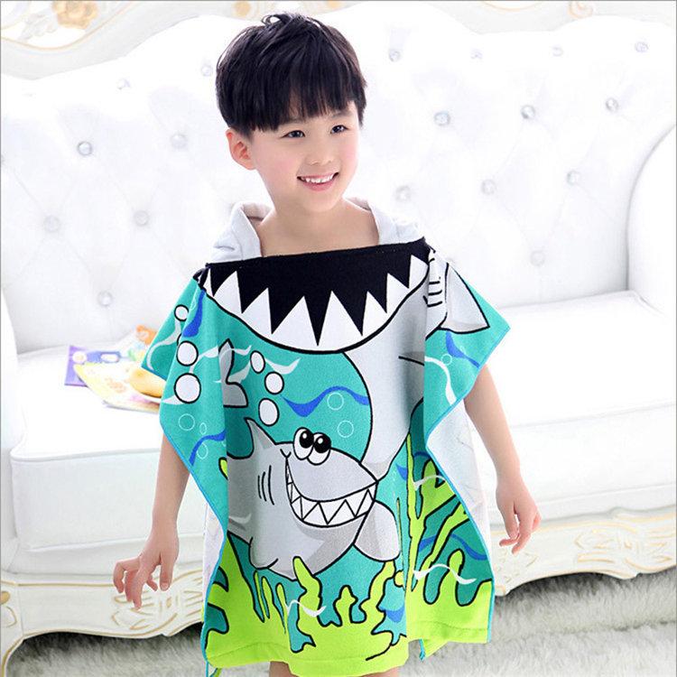 廠家批發外貿兒童新款浴袍可愛造型柔軟披風帶帽加大吸水浴巾