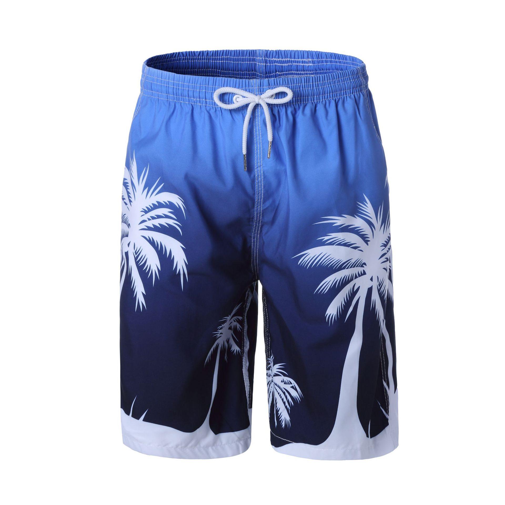 现货大码橡筋沙滩裤 全网格大裤衩 椰树图案跨境热销沙滩衣套装