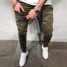 秋冬新款小脚运动长裤男 个性拉链口袋弹力运动裤休闲裤一件代发