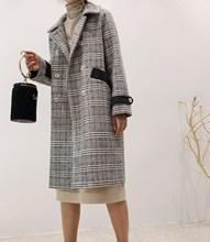 韩国ulzzang格子毛呢外套女冬季大衣2018新款中长款加绒加厚呢子