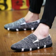 男鞋厂家 亚麻休闲潮鞋 特色帆布潮鞋 青年鞋潮流懒人鞋禅鞋批发