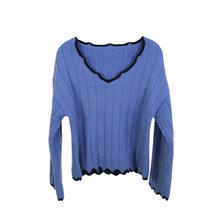 厂家直销 秋季2018新款韩版长袖针织衫 宽松时尚百搭长袖衫