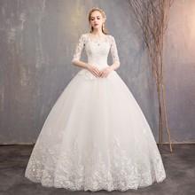 现货批发2019新款一字肩显瘦简约中袖蕾丝新娘结婚齐地轻婚纱 D30