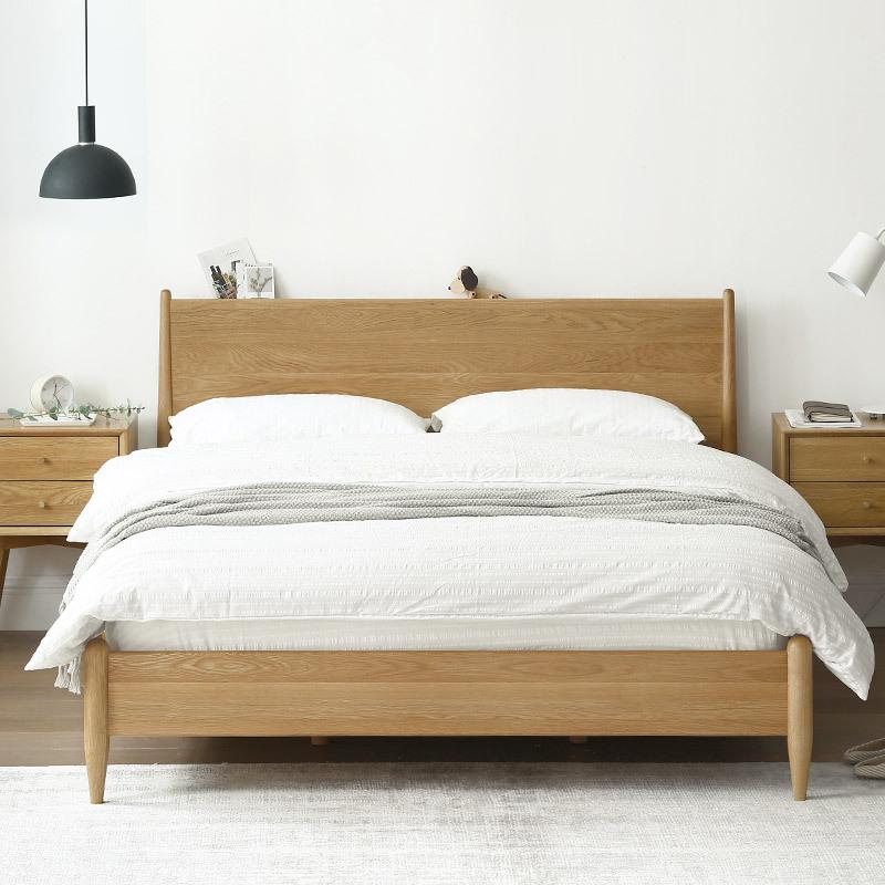 实木床现代简约主卧日式风格家具原木色白橡木1.8米1.5双人北欧床