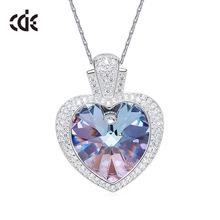 亚马逊热卖欧美时尚采用施华洛世奇元素紫光水晶S925纯银项链女