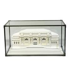 欧式现代简约石膏建筑摆件玻璃罩石膏雕塑浮雕样板房书房客厅饰品