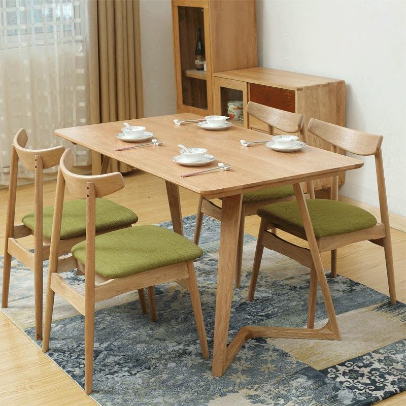 北欧餐桌实木咖啡厅餐桌椅组合现代简约白橡木小户型饭桌