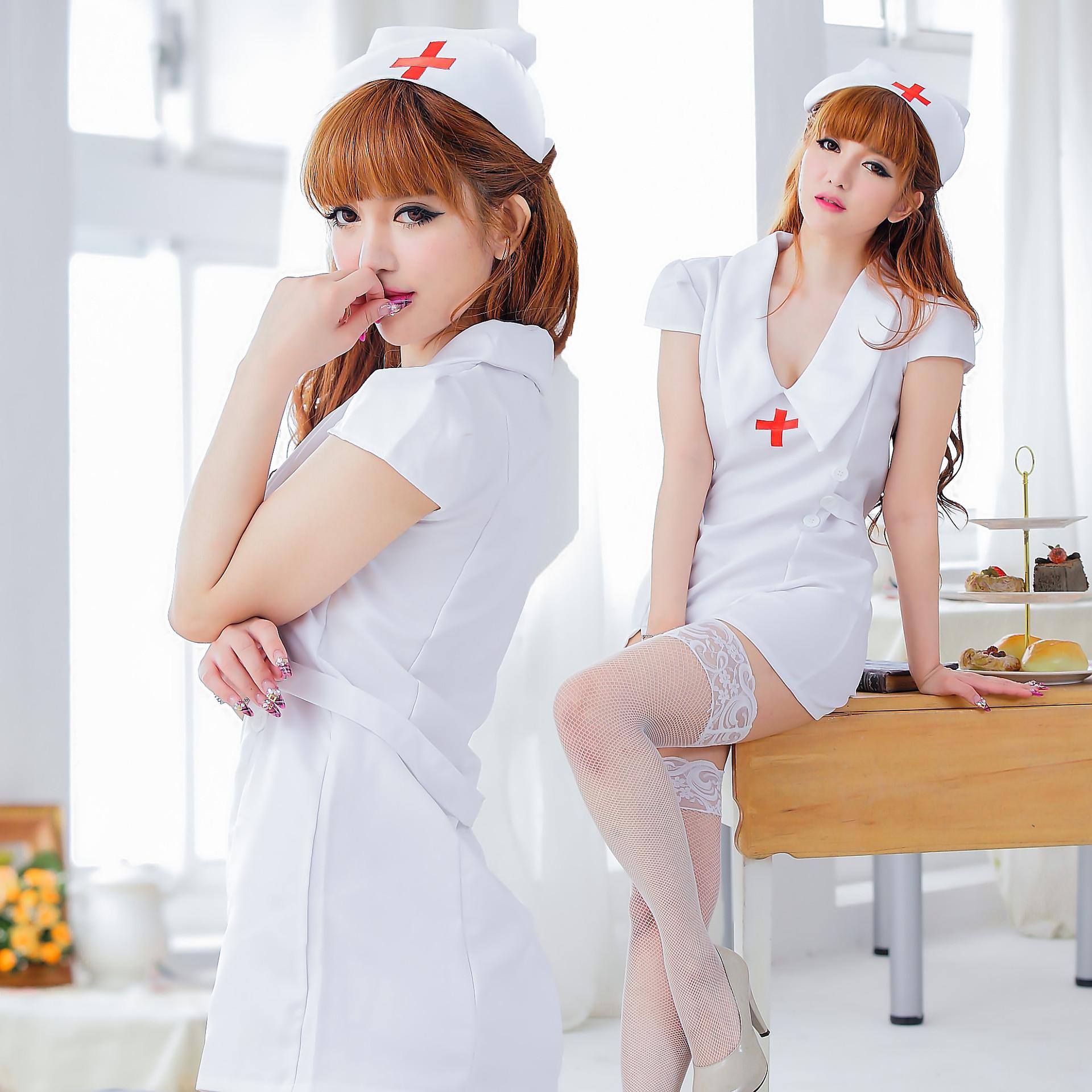 情趣内衣外贸护士白色情趣制服欧美v外贸套装装cosply情趣紧身和蛋跳性感图片