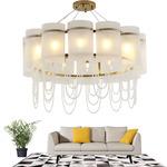 后现代客厅吊灯简约大气白色灯罩简欧设计师样板房卧室餐厅时尚灯图片