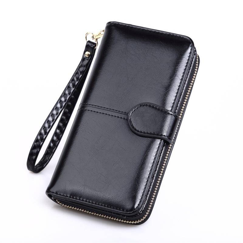 跨境爆款油皮手机包女式长款拉链钱包油蜡皮手拿包大钱夹热销N088