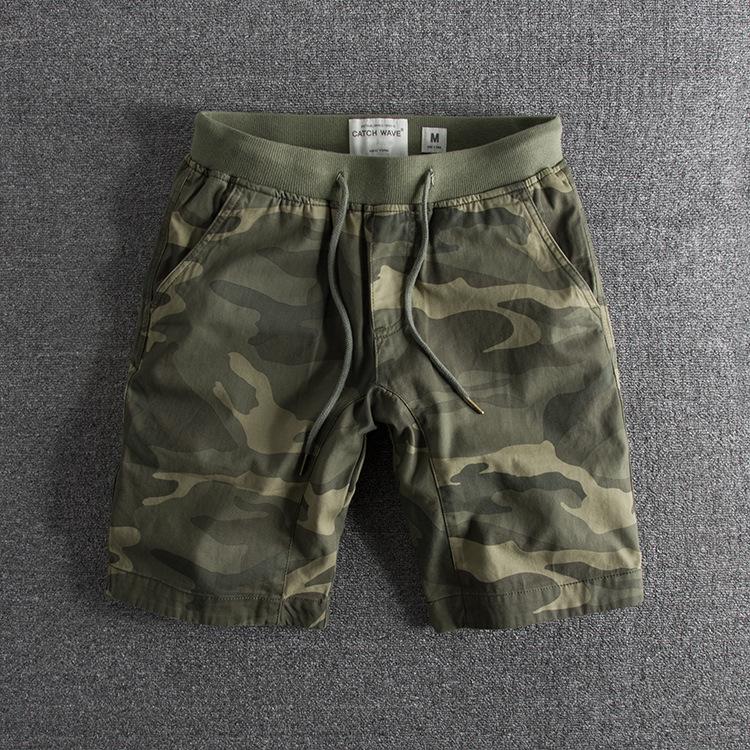水洗做旧纯棉个性迷彩弹力腰围夏季外贸原单男士短裤休闲中裤