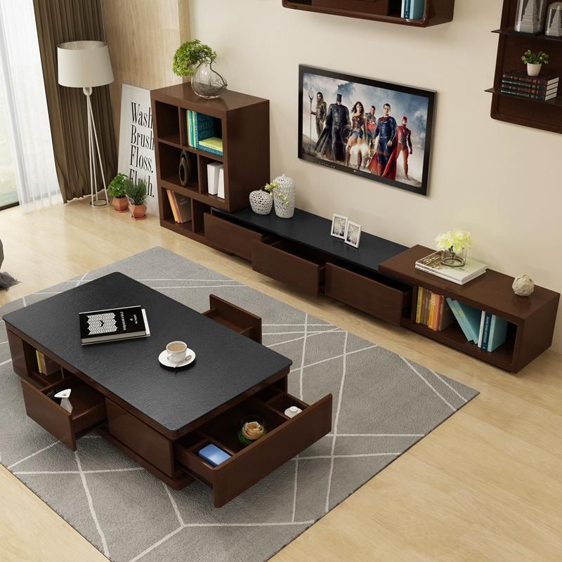 北欧火烧石茶几电视柜组合套装简约现代大理石创意茶几桌客厅家具