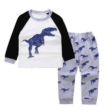 秋款童装套装男童恐龙插肩袖T恤+恐龙裤子两件套装儿童家居服睡衣