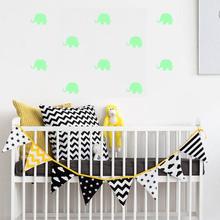 外貿新款可愛小象夜光墻貼臥室客廳房間發光組合畫熒光貼紙YG023