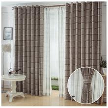 半遮光客厅卧室亚麻窗帘布 飘窗成品定制 简约现代高档细麻格子