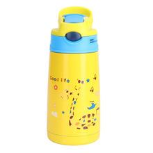 时尚卡通儿童保温杯 带吸管不锈钢水壶 宝宝小学生防摔水杯子
