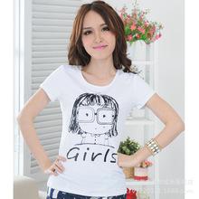 2019夏天短袖t恤女 韩版印花圆领女式打?#21672;?#19978;衣半袖 工厂直销