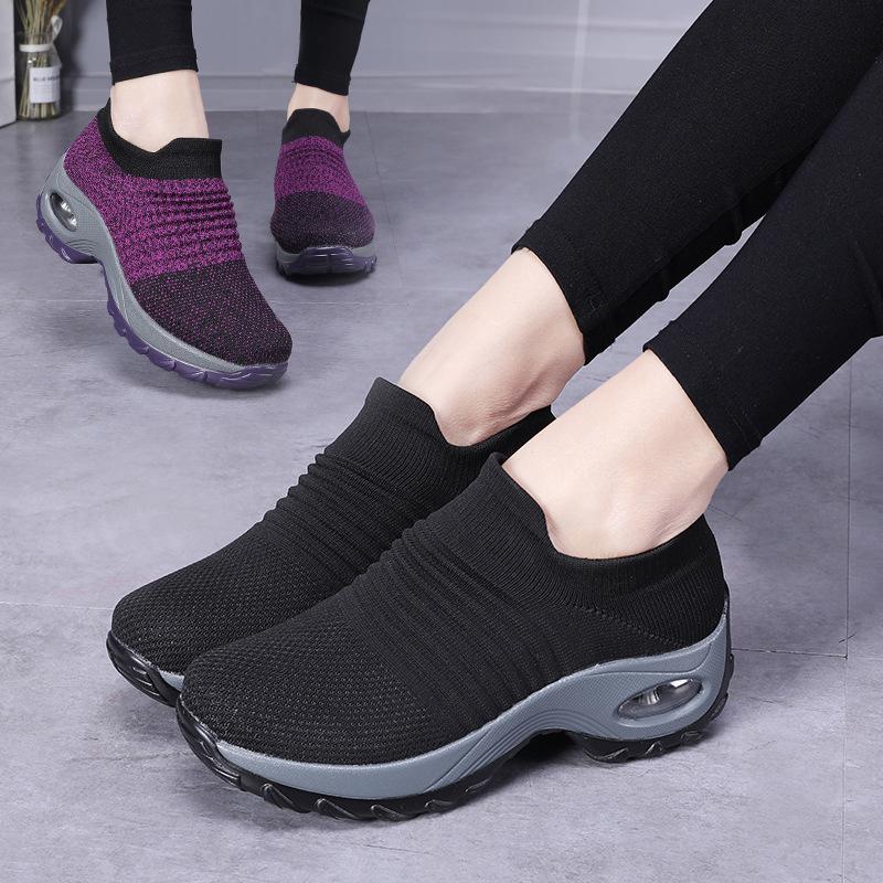 跨境爆款大码女鞋气垫飞织运动鞋套脚鞋时尚摇摇鞋休闲鞋袜子鞋