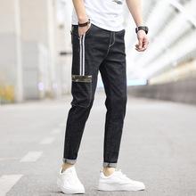 工裝褲男牛仔褲修身小腳九分百搭條紋春款男裝韓版潮牌褲子男潮流