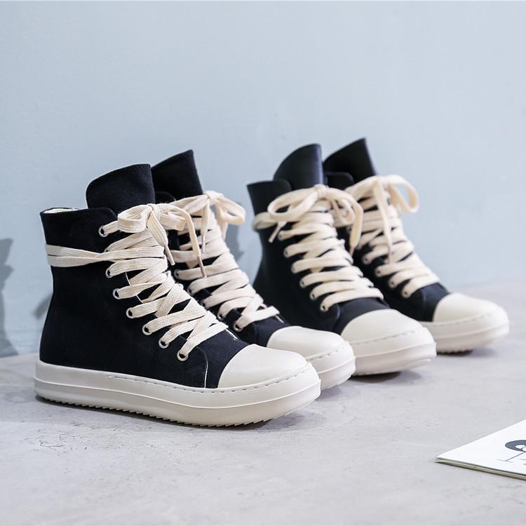 高帮鞋男女情侣款厚底帆布鞋加绒2020春季新款百搭学生休闲板鞋潮