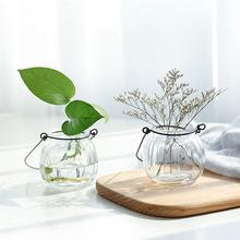 悬挂客厅插花吊瓶南瓜简?#22841;?#28165;新摆件创意花盆装饰品透明玻璃花瓶