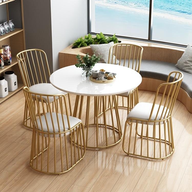 北欧金色铁艺实木圆桌小户型大理石圆餐桌接待洽谈桌咖啡桌椅组合