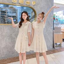 韩版甜美闺蜜连衣裙2019夏新款女?#21487;?#23043;娃领小众很仙的短袖中裙