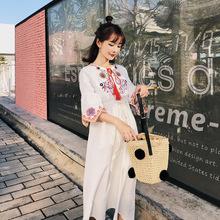 2019夏新款泰国海边度假白色棉麻名族风刺绣喇叭袖显瘦复古连衣裙