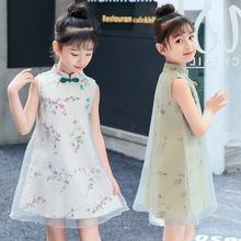 2019新款复古童裙女童夏装旗袍裙中大童儿童花朵连衣裙代发帮代发